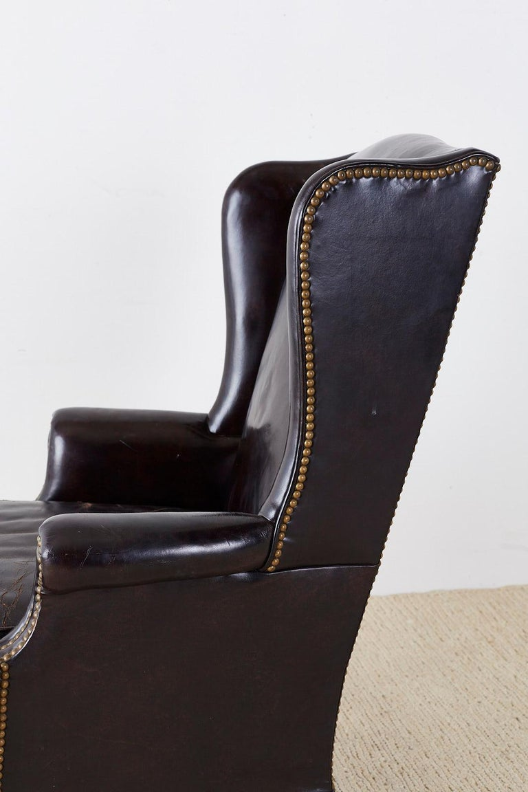 English Georgian Style Black Leather Wingback Armchair For Sale 3