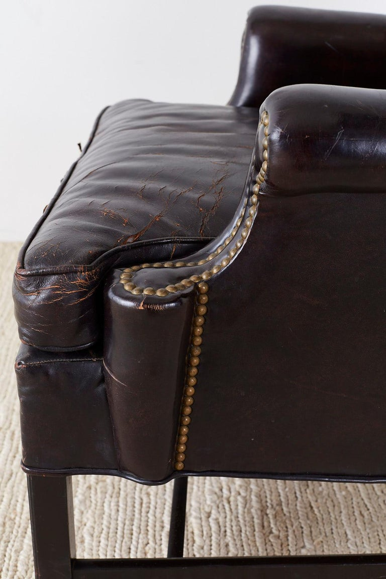 English Georgian Style Black Leather Wingback Armchair For Sale 4