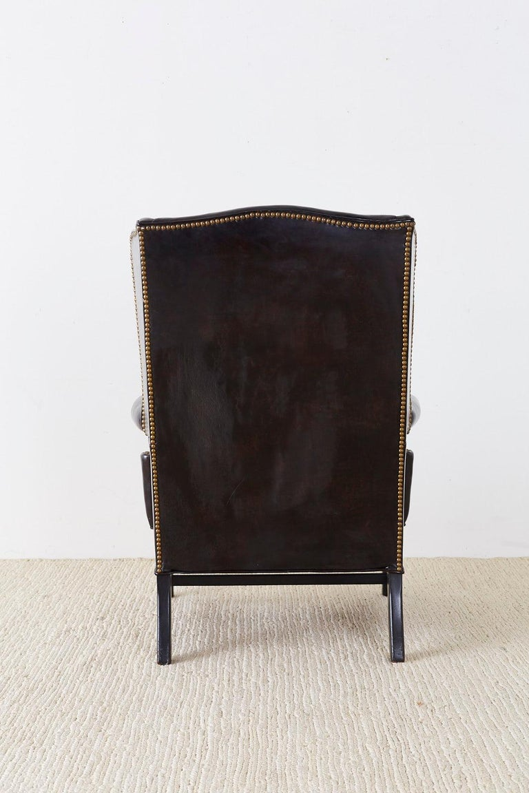English Georgian Style Black Leather Wingback Armchair For Sale 7