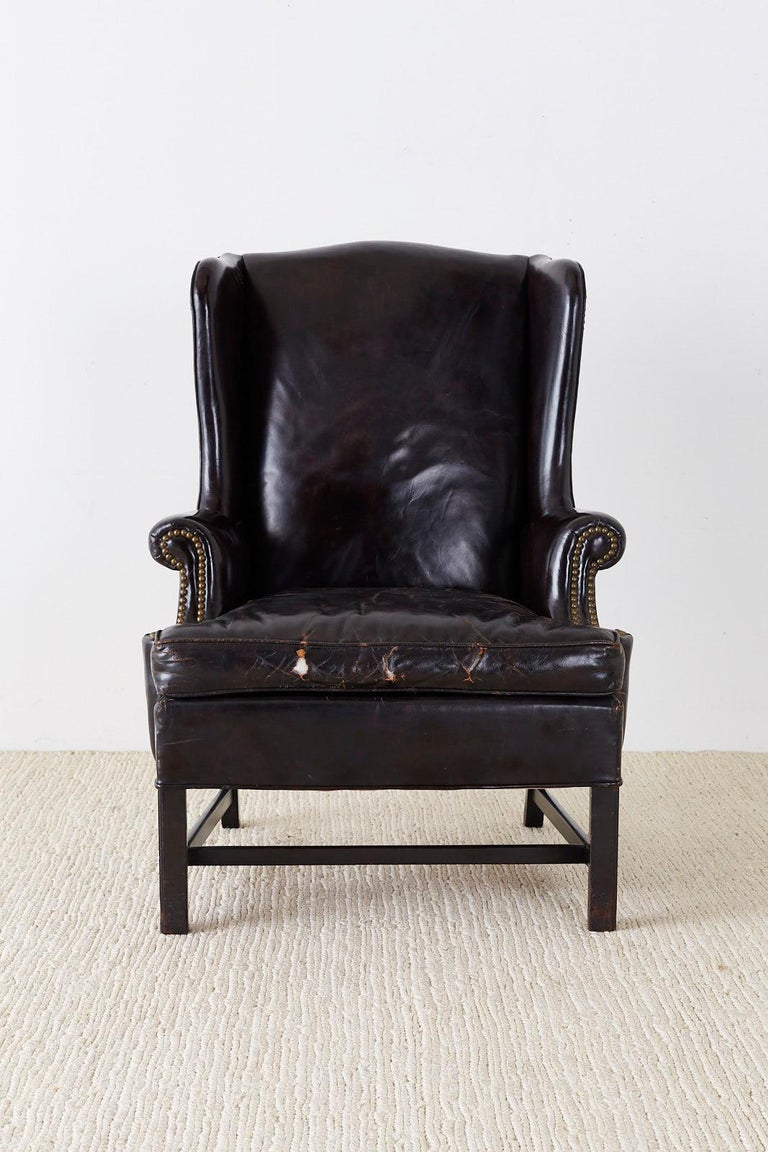 American English Georgian Style Black Leather Wingback Armchair For Sale