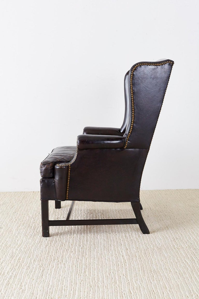 English Georgian Style Black Leather Wingback Armchair For Sale 1