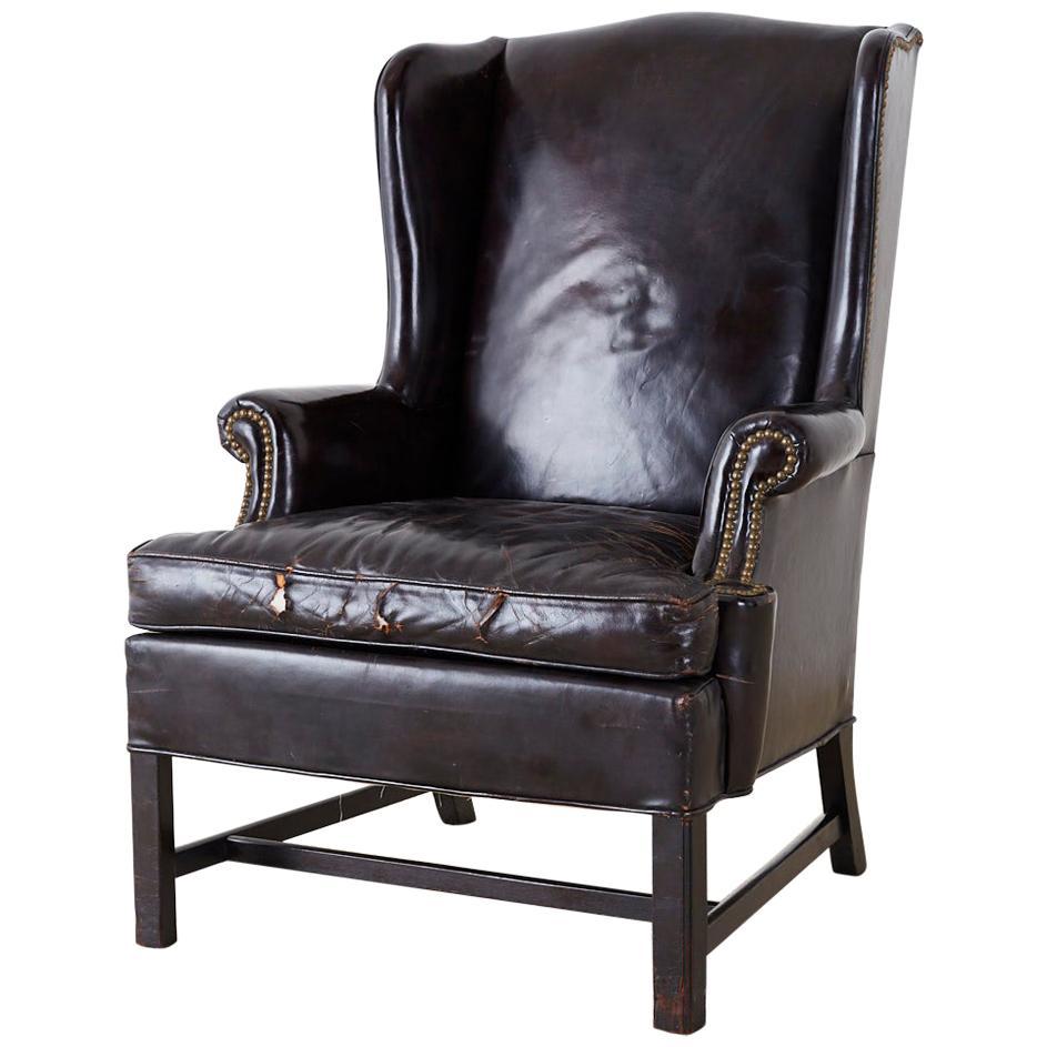 English Georgian Style Black Leather Wingback Armchair