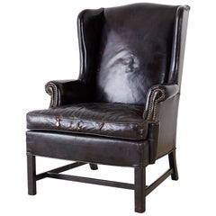 English Georgian Style Black Leather Wingback Armchair