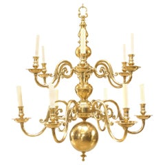 English Georgian Style Brass 12-Scroll Arm Chandeliers