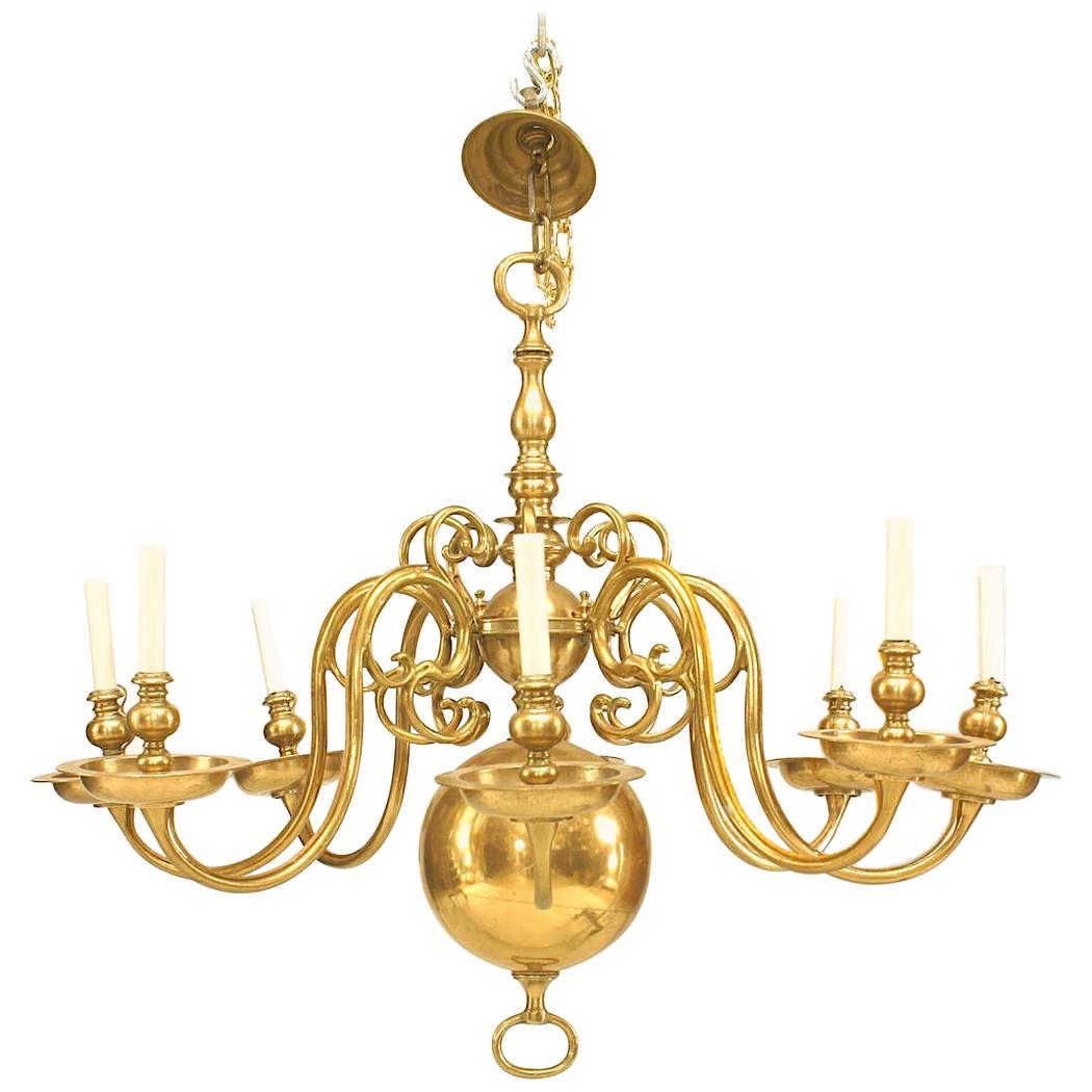 English Georgian Style Brass Chandelier