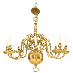 English Georgian Style Brass Chandelier