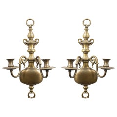 English Georgian Style Brass Wall Sconces