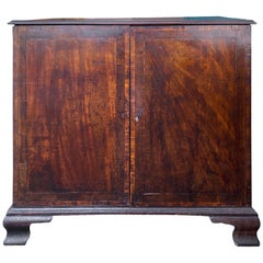 English Georgian Style Burled Wood Inlaid Two-Door Cabinet, circa 1780