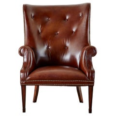 English Georgian Style Cognac Tufted Leather Wingback Chair