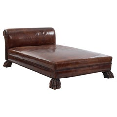 English Georgian Style Large Leather Chaise Lounge