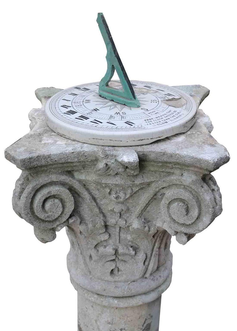 About  This beautiful English sundial is made from Limestone and features a Corinthian capital   Condition report  There is an old repair to the column. The who item comes in four parts ( the sundial is not attached). Chips to the surface of