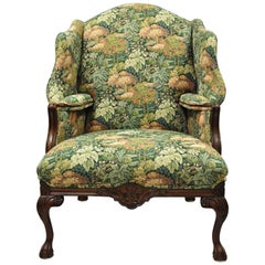 English Georgian Style Oversize Ball and Claw Chippendale Wingback Armchair