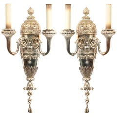 English Georgian Style Silver Plate Wall Sconces