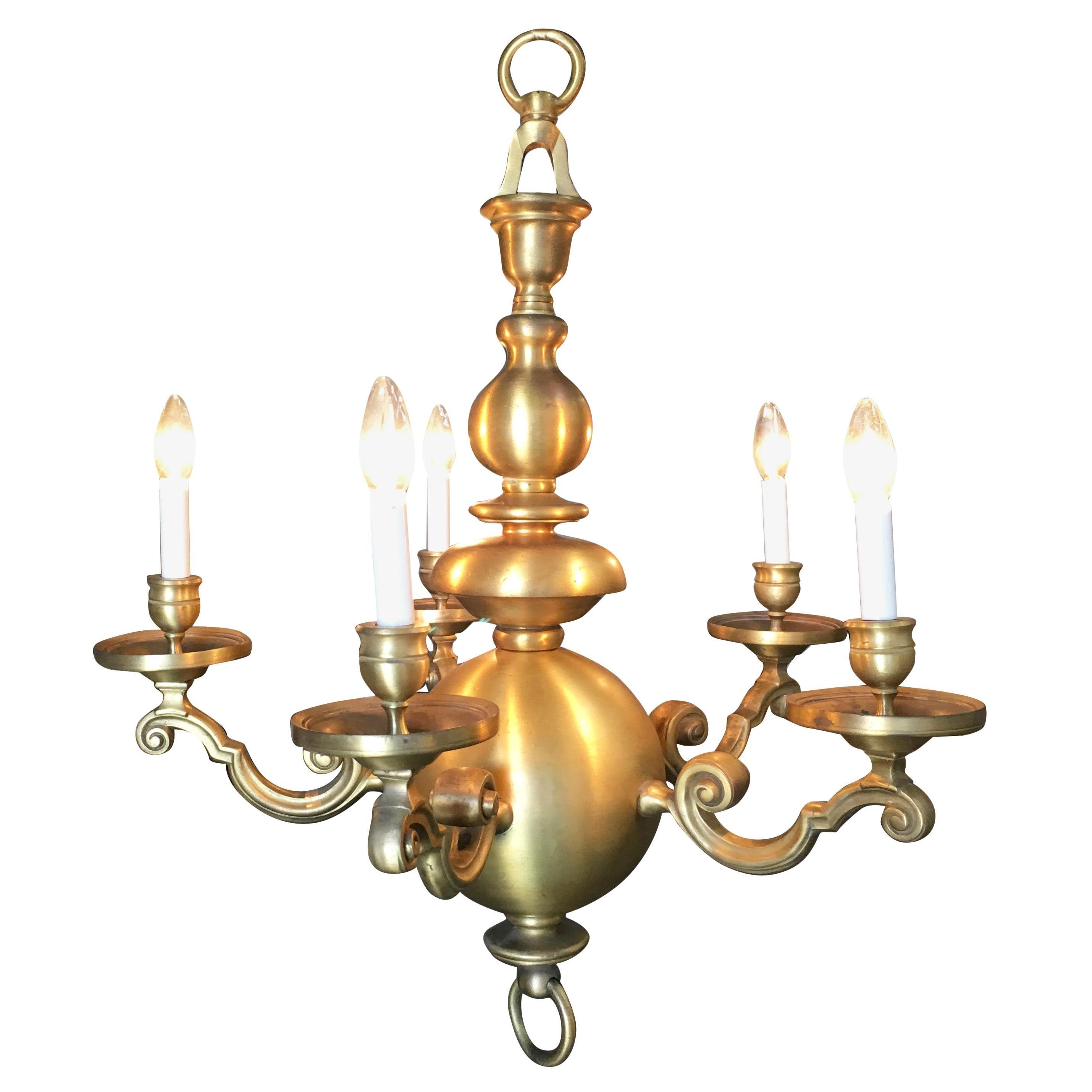 English Georgian Style Solid Brass 5-Arm Chandelier