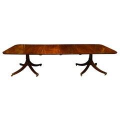 English Georgian Style Solid Mahogany Harrods Dining Table, George VI