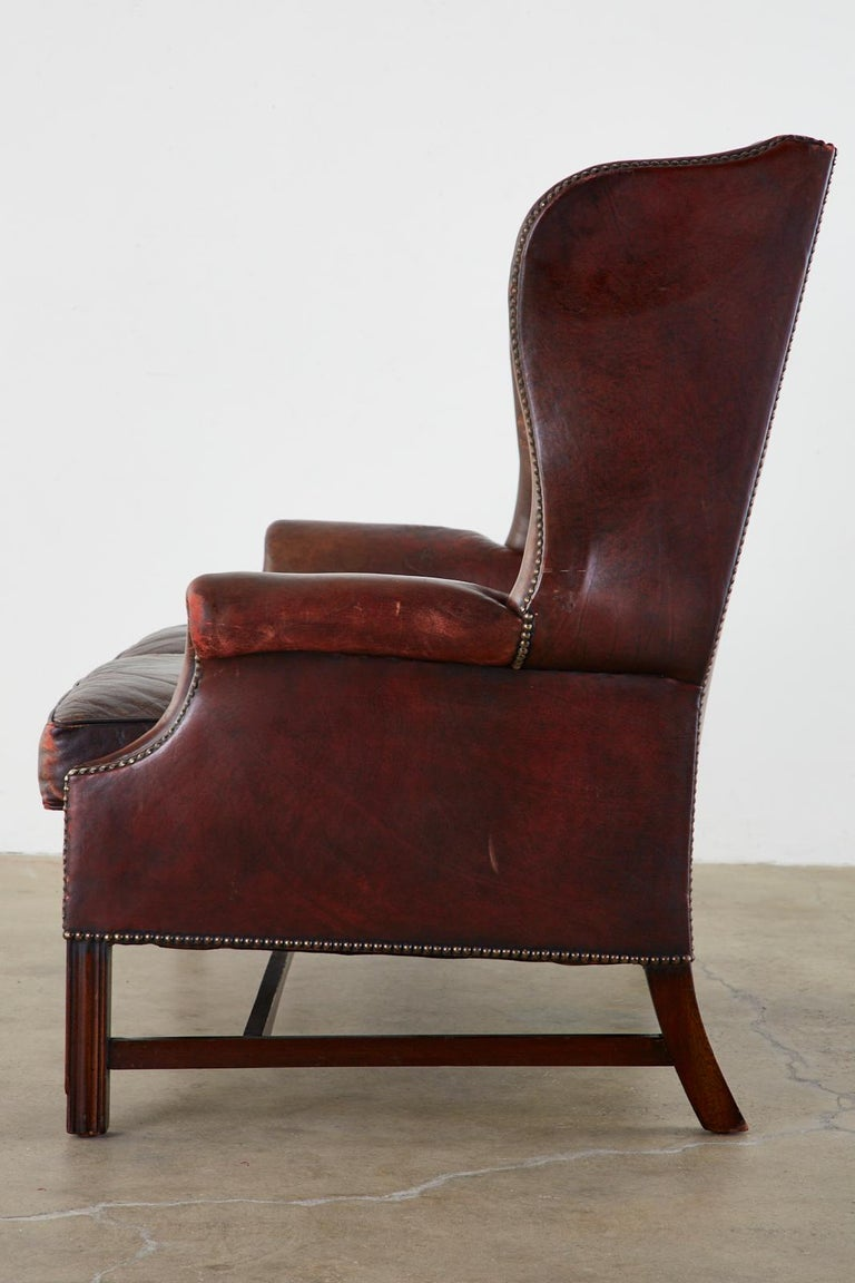 English Georgian Style Tufted Leather Chesterfield Wingback Settee For Sale 11
