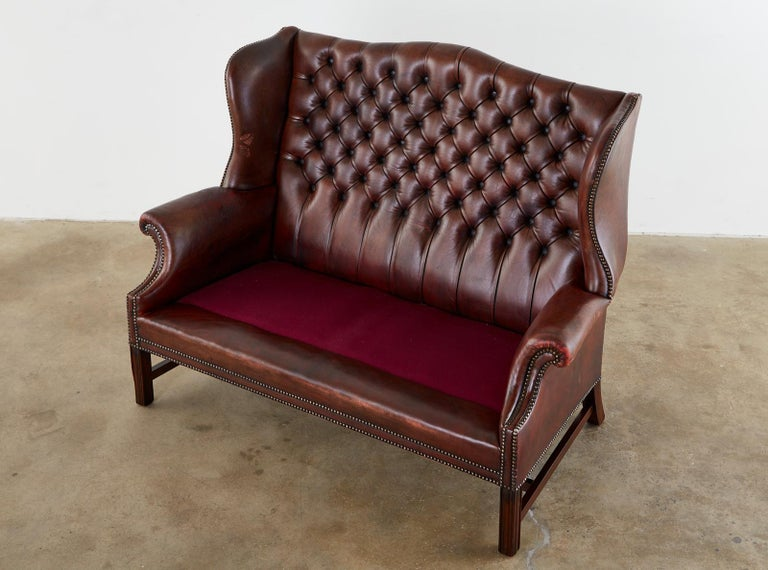Hand-Crafted English Georgian Style Tufted Leather Chesterfield Wingback Settee For Sale
