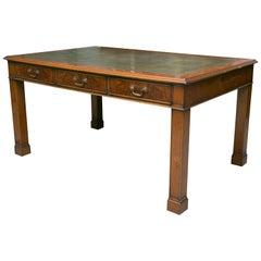 English Georgian Style Yew Wood Writing Table