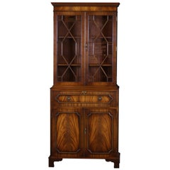 English Georgian Styling Bookcase with Secretary Desk Mahogany with Fitted Desk