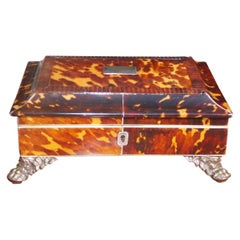 English Georgian Tortoise Shell Sewing Box with Silver Winged Paw Feet, C. 1810