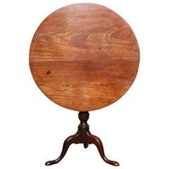 English Georgian Tripod Lamp Table Mahogany Folding Tilt Top Side Table