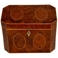 English Georgian Yew Wood Octagonal Tea Caddy with Oval Inlays on Five Sides
