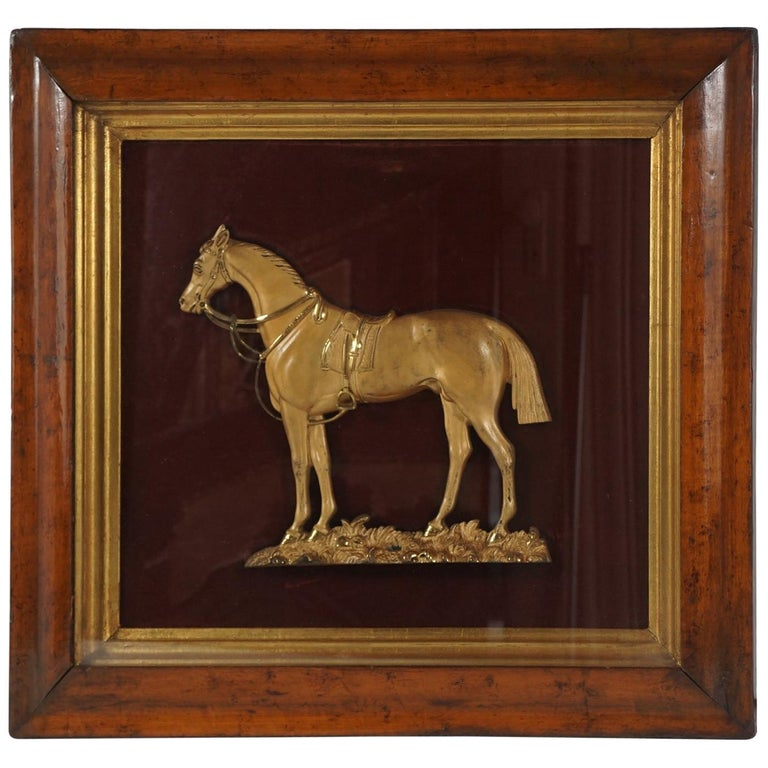 """English Gilded Brass Plaque of """"Black Eagle"""" in a Period Burled Wood Frame For Sale"""