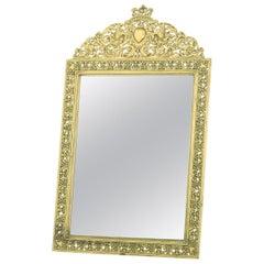 English Gilt Brass Framed Beveled Vanity Mirror