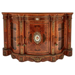 English Gilt Bronze and Porcelain Inset Marquetry Side Cabinet
