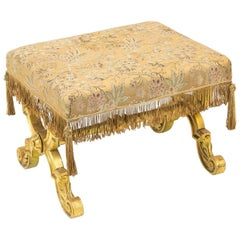 English Gilt Stretcher Stool