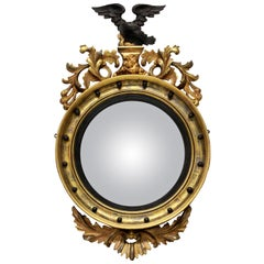 English Giltwood Regency Convex Mirror