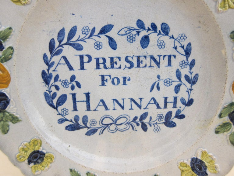 English Glaze Pearlware Present for Hannah Plate Decorated with Floral Flower For Sale 1