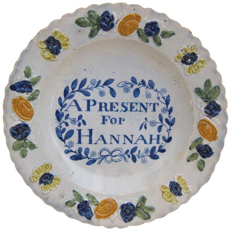 English Glaze Pearlware Present for Hannah Plate Decorated with Floral Flower For Sale
