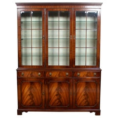 English Glazed Bookcase Bevan Funnell Mahogany Library Cabinet