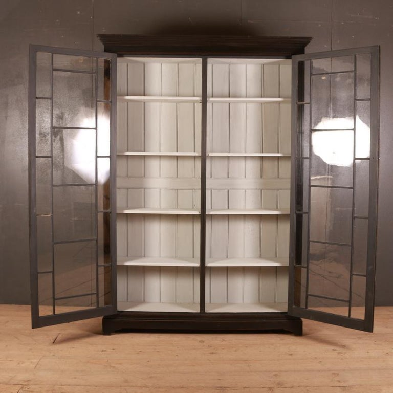 19th Century English Glazed Bookcase For Sale
