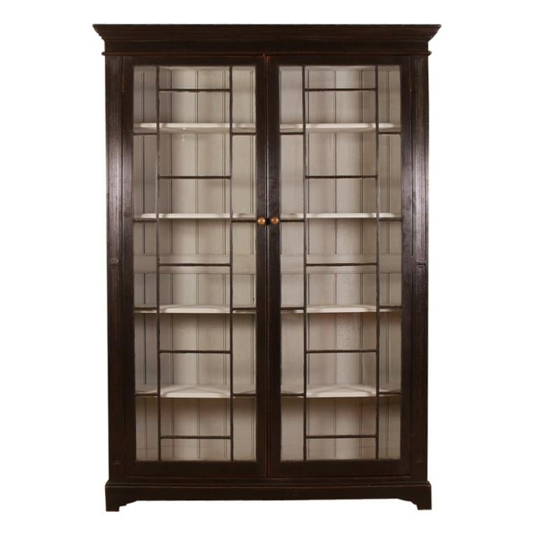 English Glazed Bookcase For Sale
