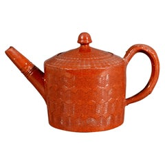 English Glazed Redware Engine-Turned Tea Pot and Cover, circa 1780