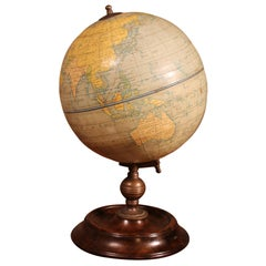 English Globe with Its Wooden Base, Early 20 Century
