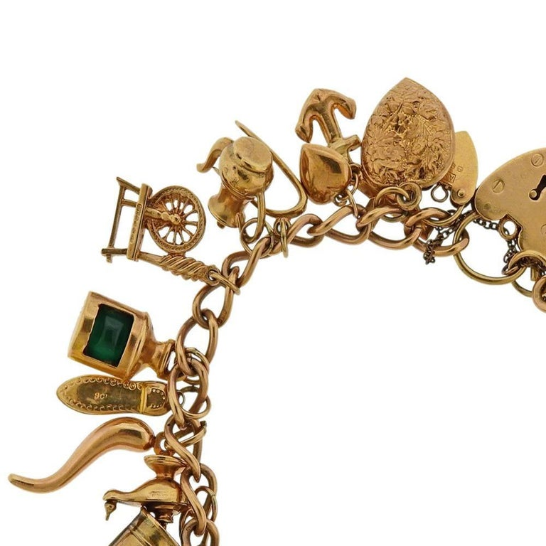 English Gold 3D Gemstone Charm Bracelet In Excellent Condition For Sale In New York, NY