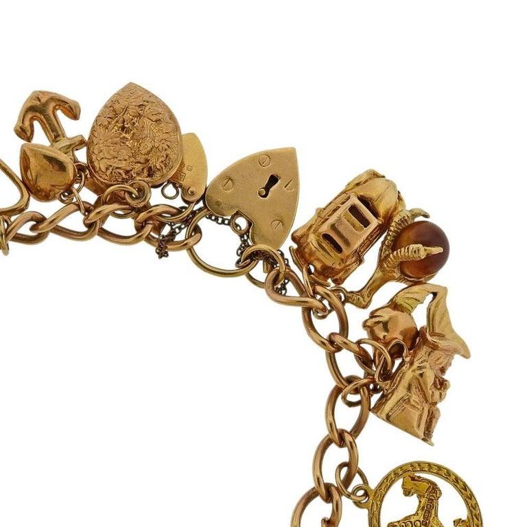 Women's English Gold 3D Gemstone Charm Bracelet For Sale