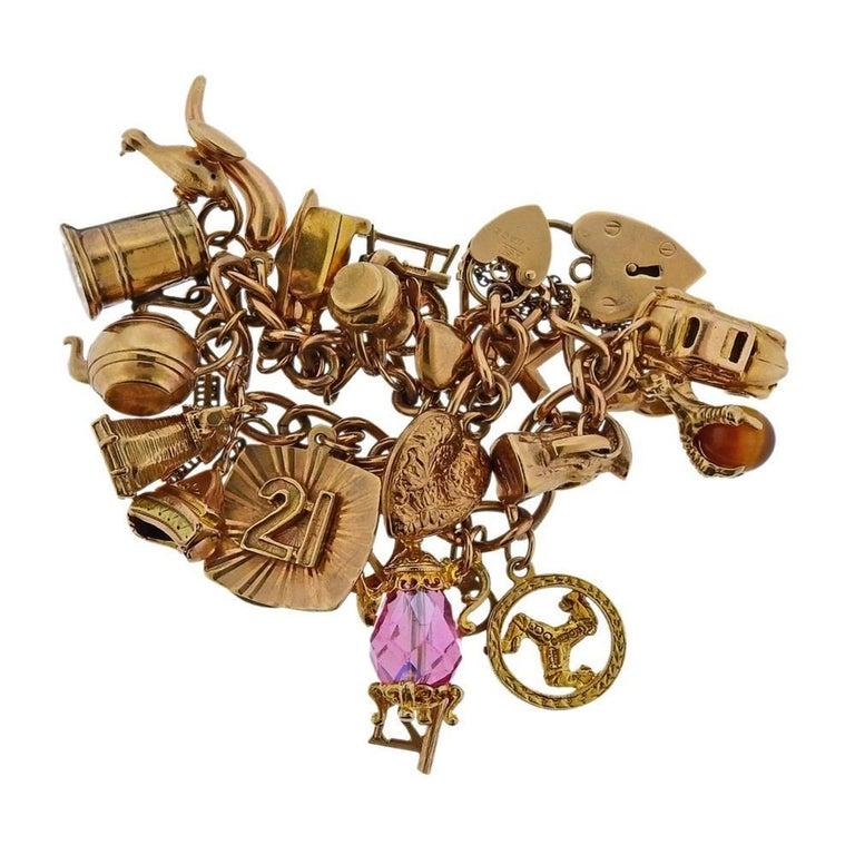 English Gold 3D Gemstone Charm Bracelet For Sale 1