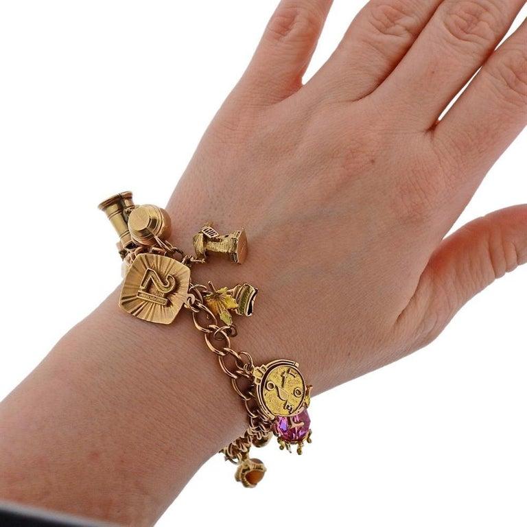 English Gold 3D Gemstone Charm Bracelet For Sale 2