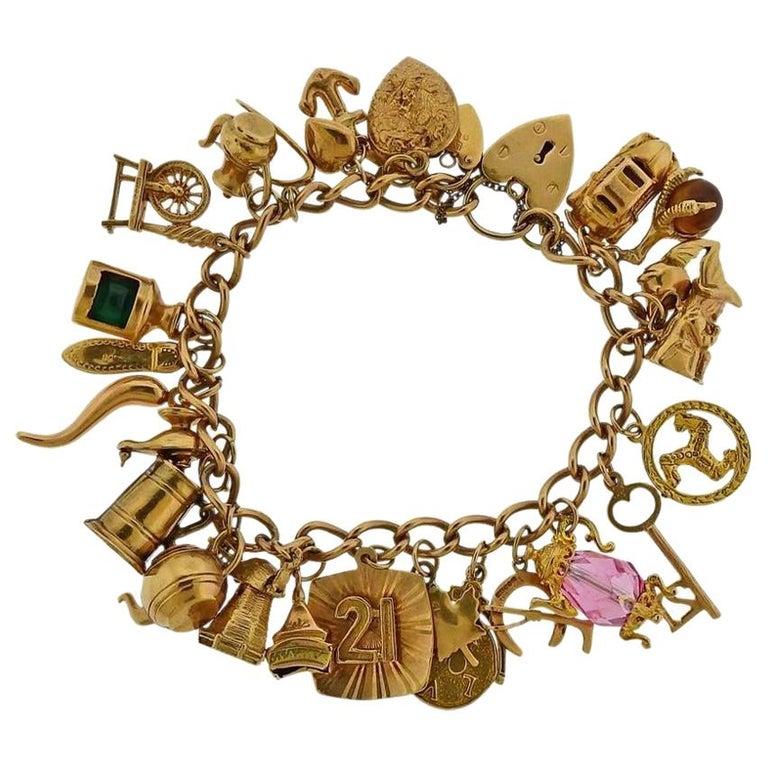 English Gold 3D Gemstone Charm Bracelet For Sale
