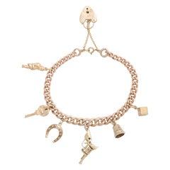 English Gold Charm Bracelet, Birmingham, 1950s