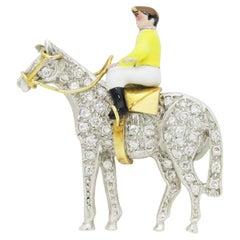English, Gold, Diamond and Enamel Jockey Brooch Pin