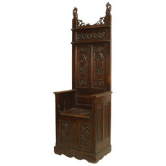English Gothic Revival Carved Throne Chair