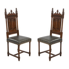 English Gothic Revival Leather Side Chairs