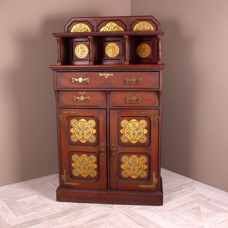 Stained Pine Kitchen Cabinets: English Gothic Revival Stained Pine Cabinet With Gilded