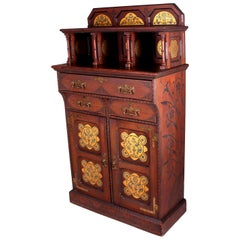 English Gothic Revival Stained Pine Cabinet with Gilded Decoration, circa 1870
