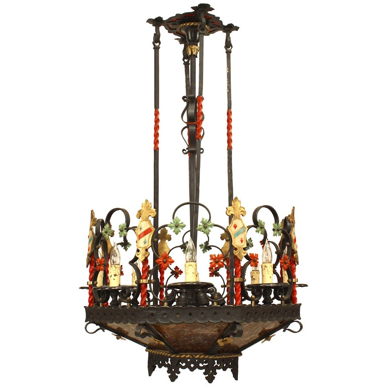 English Gothic Revival Style '1920s' Chandelier For Sale